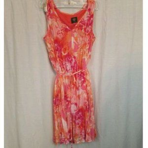 Vince Camuto Floral Pleated Sleeveless Dress 6